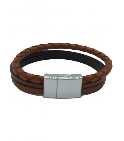 Bracelet triple uni marron