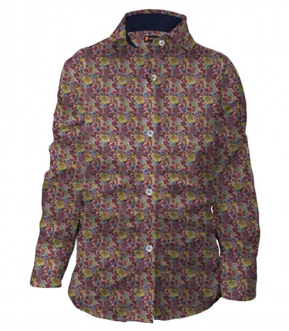 Little girl shirt with round collar and gathered Poplin Purple and yellow printed