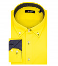 Chemise Homme 2 Boutons Slim Bdwn Stretch Popeline Jaune