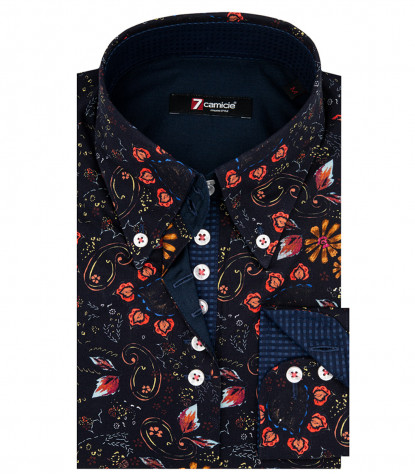 2 Buttons Bdwn Poplin Fantasy Printed Shirt Blue
