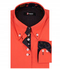 Camisa Mujer Popeline 2 Botones Button Down Stretch Rojo