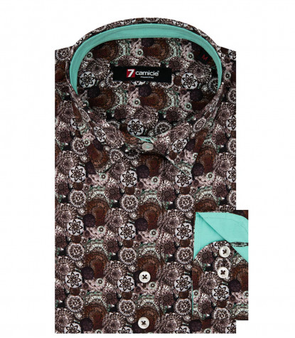 2 Buttons Italian Collar Slim Woman Shirt Printed Popeline Burgundy / Light Gray