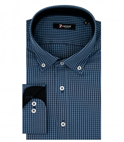 Camicia Uomo 1 Bottone Button Down Slim Oxford Quadro Piccolo Avion e Blu