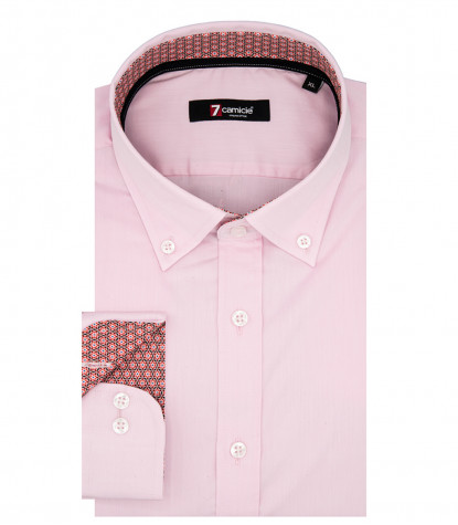 Camicia Uomo 1 Bottone Button Down Slim Satin Unito Rosa Chiaro