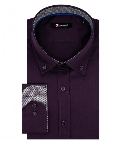 Camicia Uomo 1 Bottone Button Down Slim Satin Unito Viola Melanzana