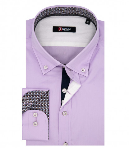 Camicia Uomo 1 Bottone Button Down Slim POPELINE STRETCH UNITO Lilla