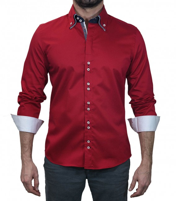Shirt Men Long sleeve shirt 2 Button slim satin full color Red 649e2e10982