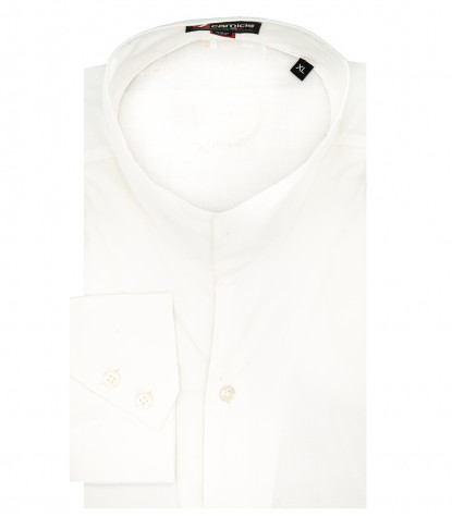 korean collar slim fit man shirt Popeline Stretch Plain White