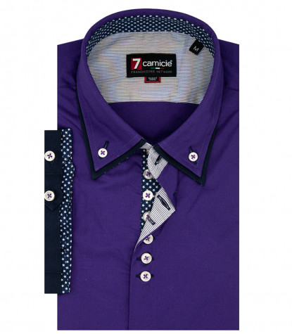 camicia uomo 1 bottone button down doppio collo slim POPELINE STRETCH UNITO Viola