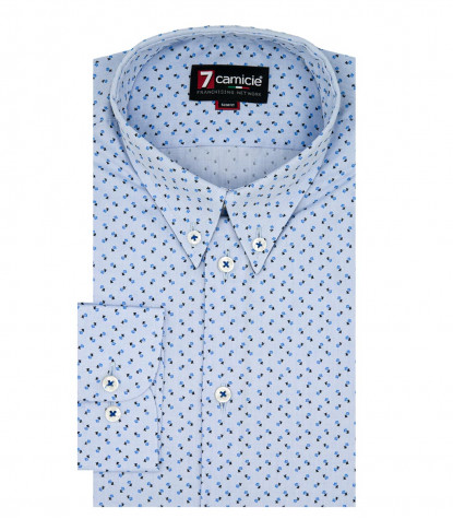 Camicia Uomo 1 Bottone Button Down Slim Oxford Stampato Celeste e Turchese