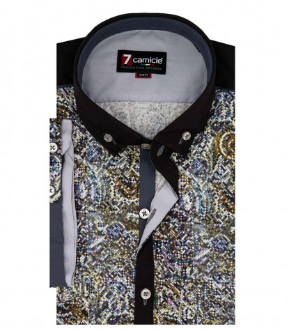 1 button button-down short sleeve man shirt Printed Popeline
