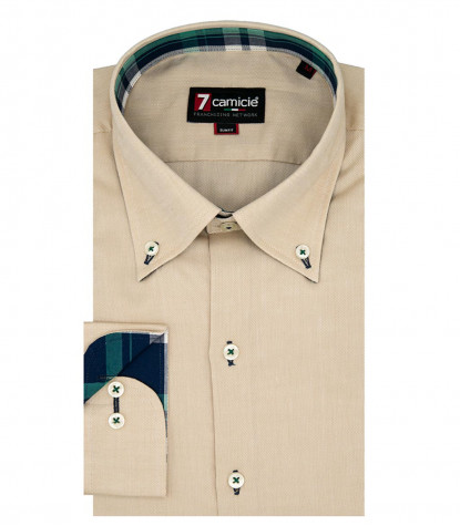 camicia uomo 1 bottone button down slim Oxford unito Beige