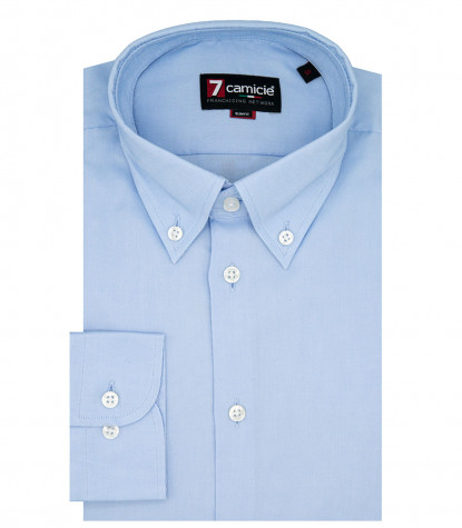 camicia uomo 1 bottone button-down slim Oxford unito Celeste