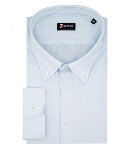 Camicia 1 Bottone Button DownUomo Slim Twill Unito Celeste