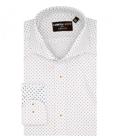 1 Button French Collar Slim Man Shirt Printed Cotton Polyester