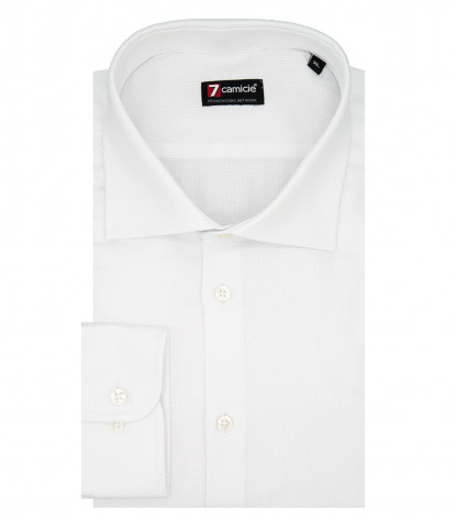 1 Button French Collar Slim Man Shirt Pattern Woven White\White
