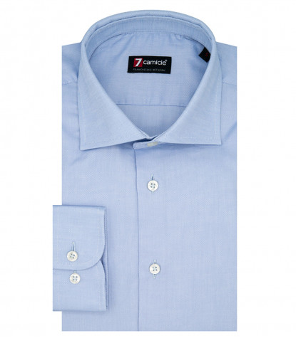1 Button French Collar Slim Man Shirt Oxford Plain Light Blue