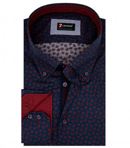 Camicia Uomo 2 Bottoni Button Down Slim Superoxford Stampato Blu/Bordeaux