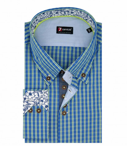 2 Buttons BDW Slim Man Shirt Small Square Popeline Blue and Light Green