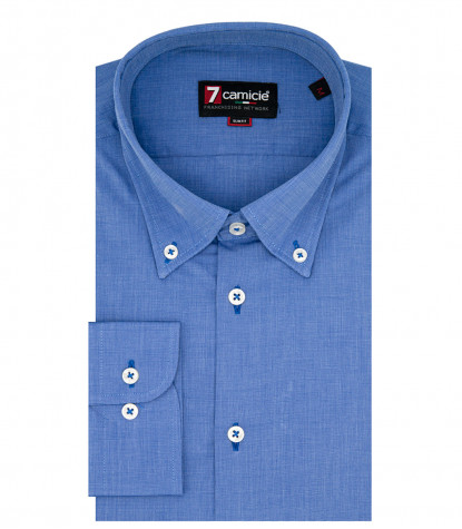 1 button down man shirt with embroidery Fil a Fil Plain Ink Blue