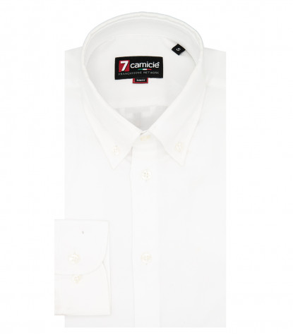 1 button down man shirt with embroidery Oxford Plain White