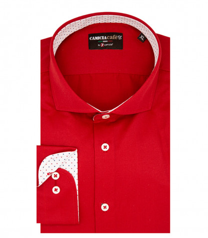 1 Button French Collar Slim Man Shirt Cotton/Polyester Red