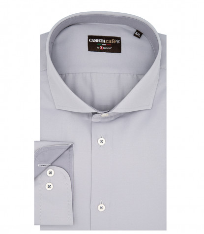 1 Button French Collar Slim Man Shirt Saten Cotton and Polyester