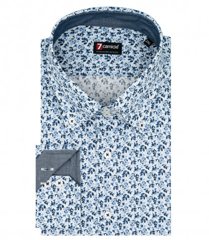 2 Buttons Bdwn Slim Man Shirt Printed Popeline White and Medium Light Blue