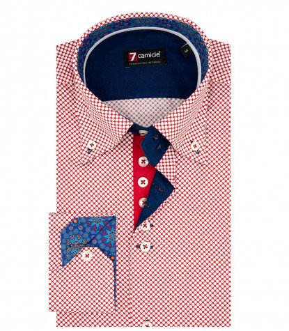 2 Buttons BDW Slim Man Shirt Printed Cotton Red\White