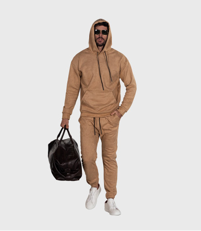 Suede Complete Tracksuit For Men Solid Beige Camel
