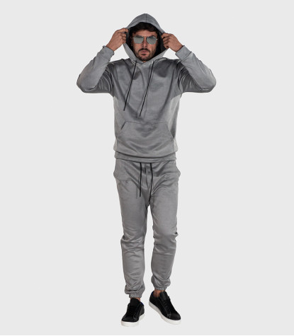 Suede Complete Tracksuit For Men Solid Light Grey