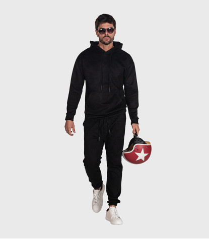 Suede Complete Tracksuit For Men Solid Black