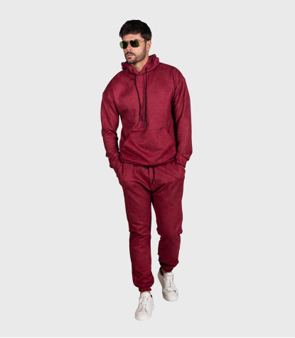 Suede Complete Tracksuit For Men Solid Red Bordeaux