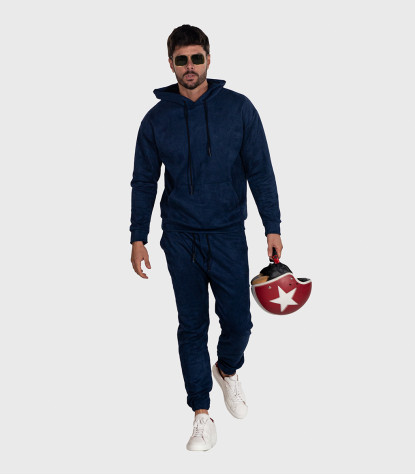 Suede Complete Tracksuit For Men Solid Dark Blue