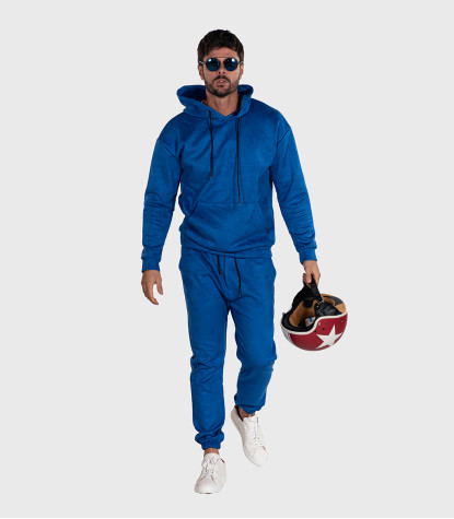 Suede Complete Tracksuit For Men Solid Electric Blue