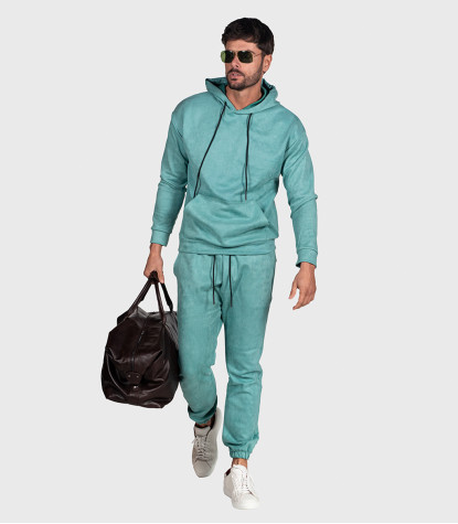 Suede Complete Tracksuit For Men Solid Water Green