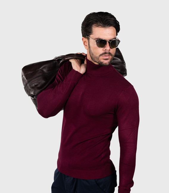 Men's Red Turtleneck Sweater