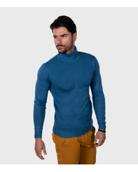 Men's Light Blue Turtleneck Sweater