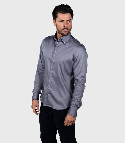 Chemises Marco Polo Satin Medium Grey