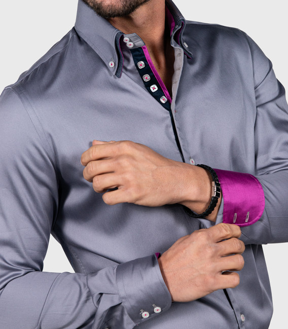 Shirt Marco Polo Satin Medium grey