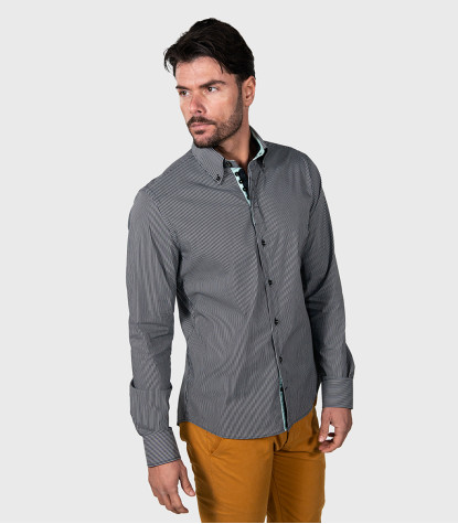 Shirt Roma Cotton Gray White
