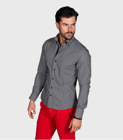Shirt Marco Polo Cotton Grey White