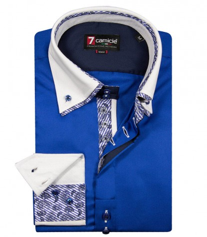Camicia Marco Polo Satin Bluette