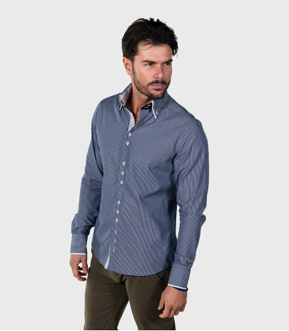 Colosseum Slim Man Shirt Cotton Narrow Stripe Blue White