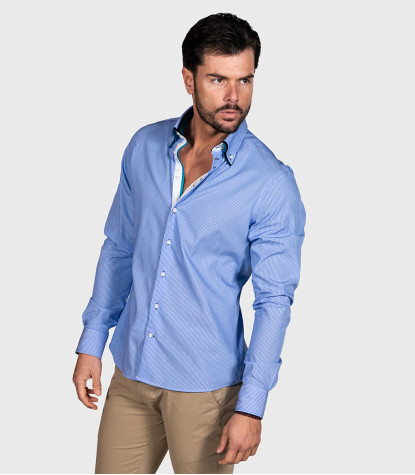 Marco Polo Shirt Cotton Narrow Stripe Light Blue