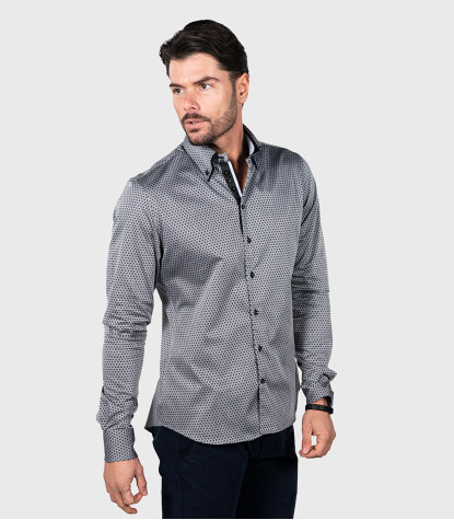Shirt Marco Polo jacquard Grey Black