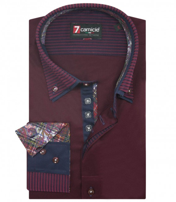 Shirt Marco Polo Satin Red Bordeaux