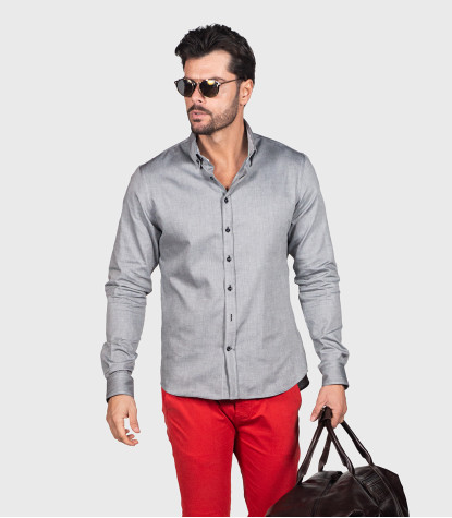 Leonardo Dark Gray Oxford Shirt