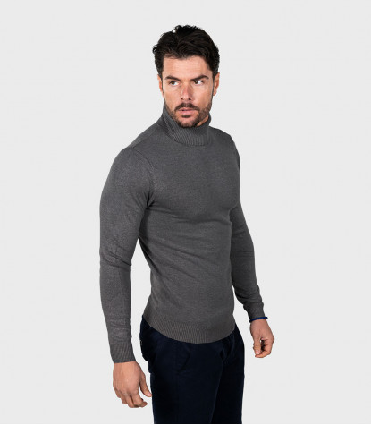 Man Turtleneck Sweater Plain Dark Gray