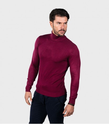 Man Turtleneck Sweater Plain Dark Red